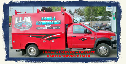 24 Hour Mobile Repair Truck E.L.M. Repair & Refrigeration, full-service diesel repair shop in Edgar WI