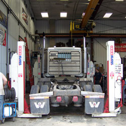Wheel Alignment for Semi Trucks E.L.M. Repair & Refrigeration, full-service diesel repair shop in Edgar WI